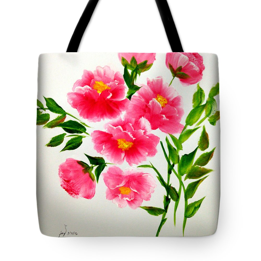 Flowers Tote Bag featuring the painting The Beauty Of Peonies by Jennilyn Villamer Vibar