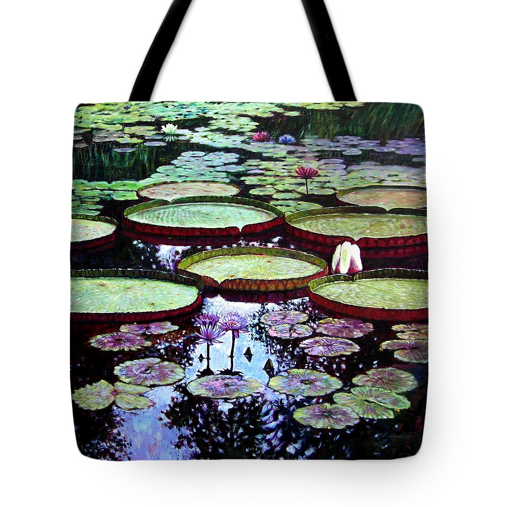 Garden Tote Bag featuring the painting The Beauty Of Stillness by John Lautermilch