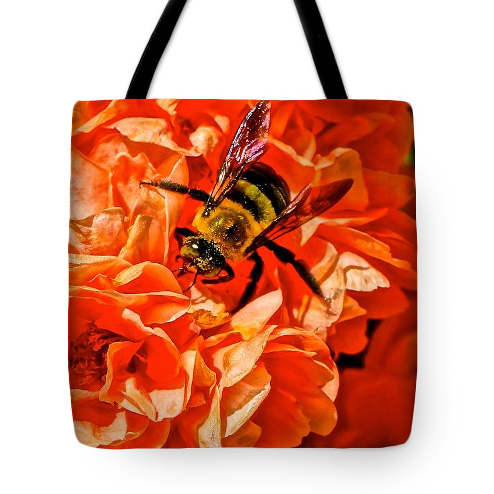 Bee Tote Bag featuring the photograph The Bee And The Flower by Ivana Kovacic