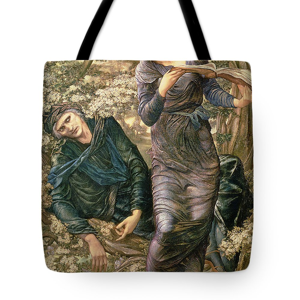 The Beguiling Of Merlin Tote Bag featuring the painting The Beguiling Of Merlin by Sir Edward Burne-Jones