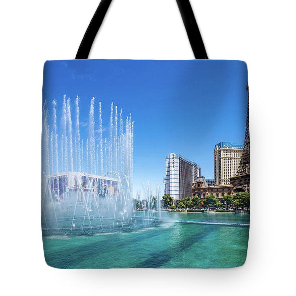 Paris Casino Tote Bag featuring the photograph The Bellagio Fountains In Front Of The Eiffel Tower 2 To 1 Ratio by Aloha Art