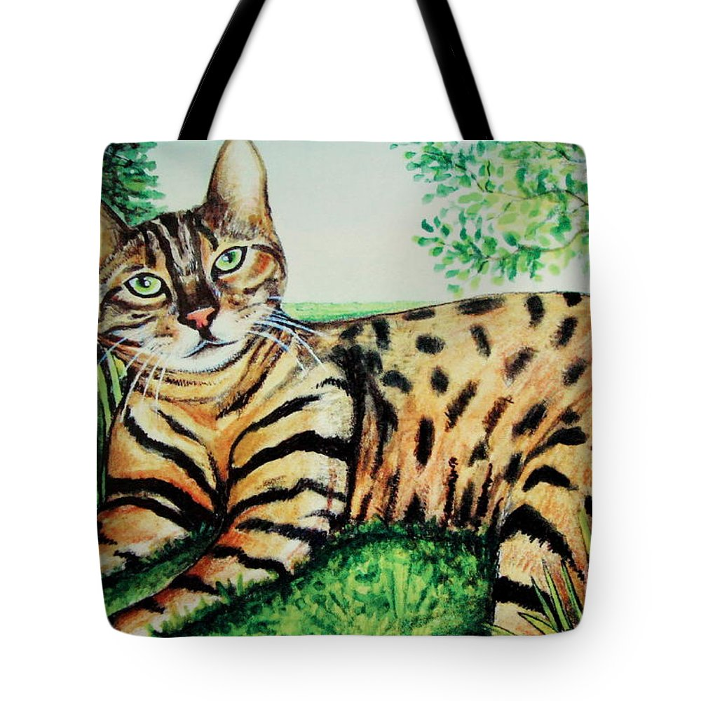 Cat Tote Bag featuring the painting The Bengal by Elizabeth Robinette Tyndall