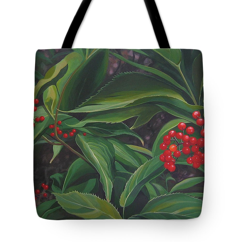 Berries Tote Bag featuring the painting The Berries On Guanella Pass by Hunter Jay