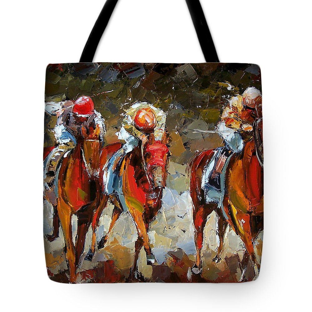 Horse Race Tote Bag featuring the painting The Best by Debra Hurd
