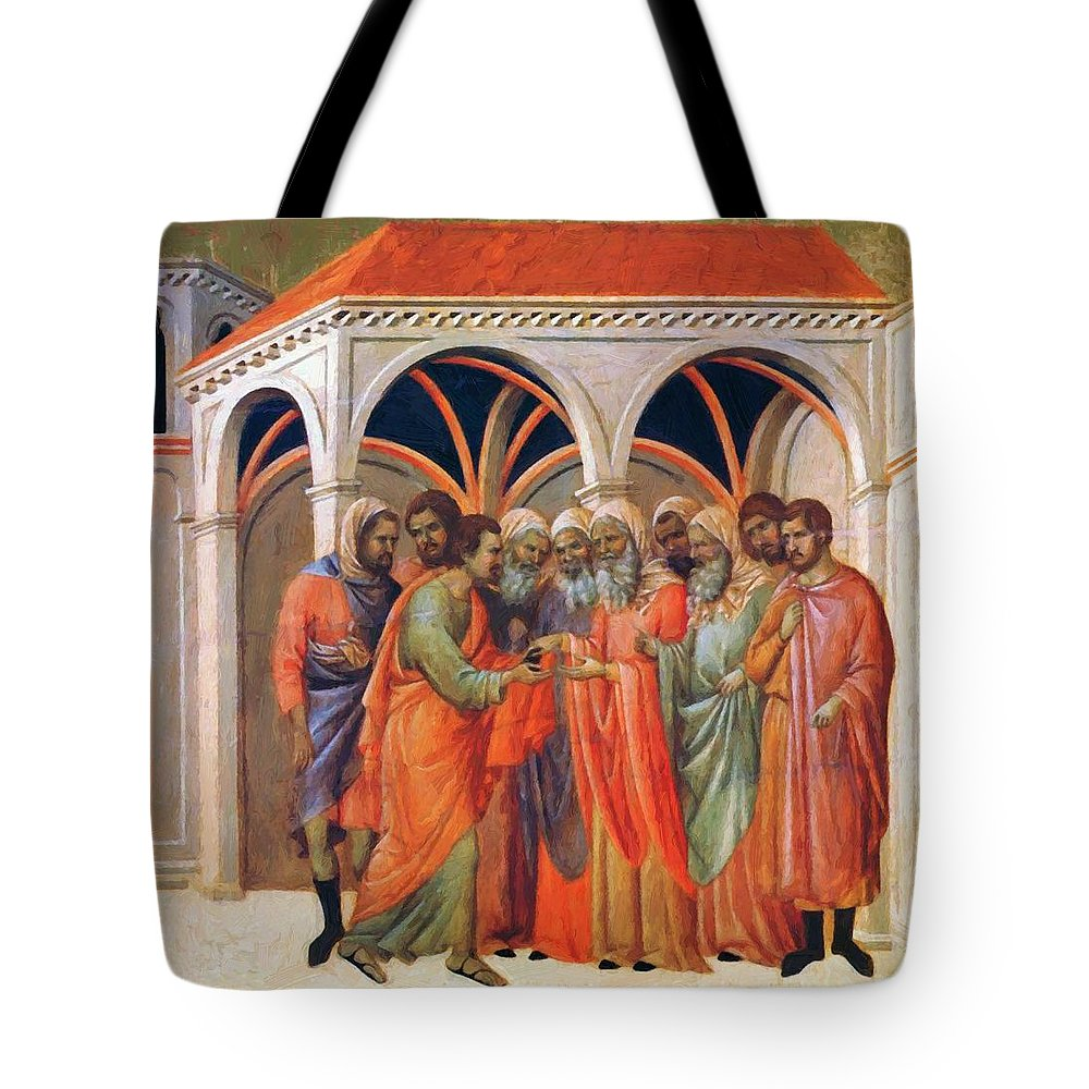 The Tote Bag featuring the painting The Betrayal Of Judas 1311 by Duccio