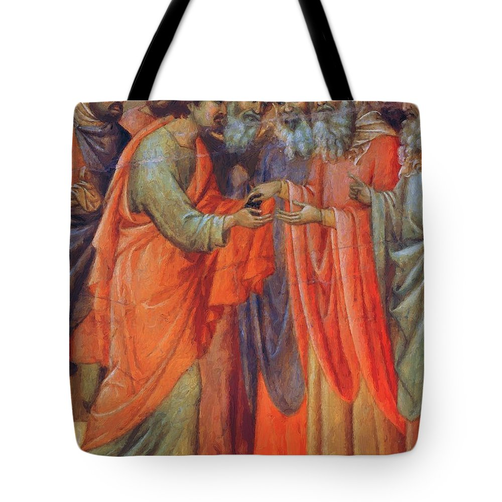 The Tote Bag featuring the painting The Betrayal Of Judas Fragment 1311 by Duccio