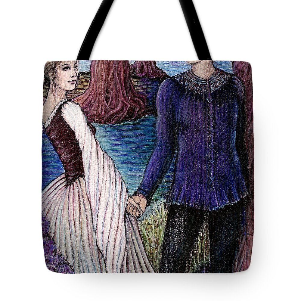 Mythology Tote Bag featuring the drawing The Betrothal by Debra A Hitchcock