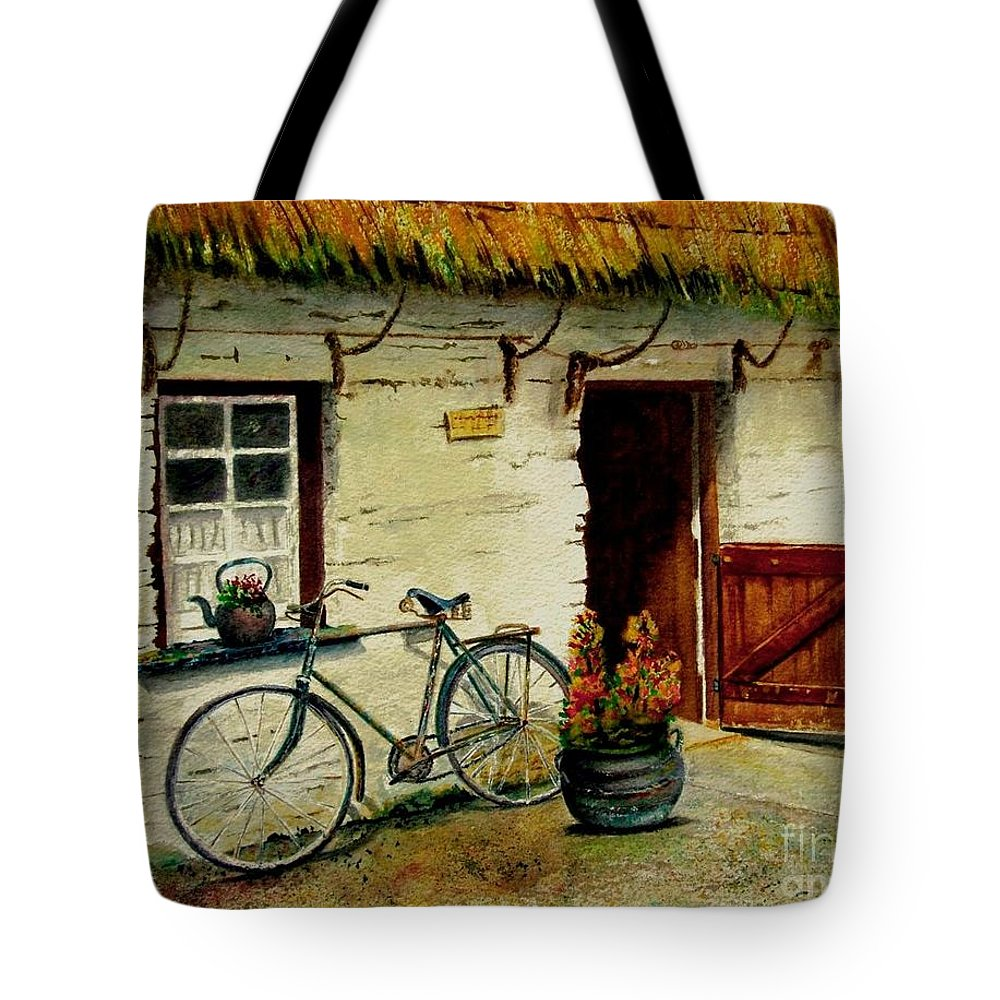 Bicycle Tote Bag featuring the painting The Bicycle by Karen Fleschler