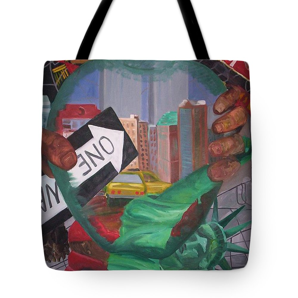 New York Tote Bag featuring the painting The Big Apple by Lauren Luna