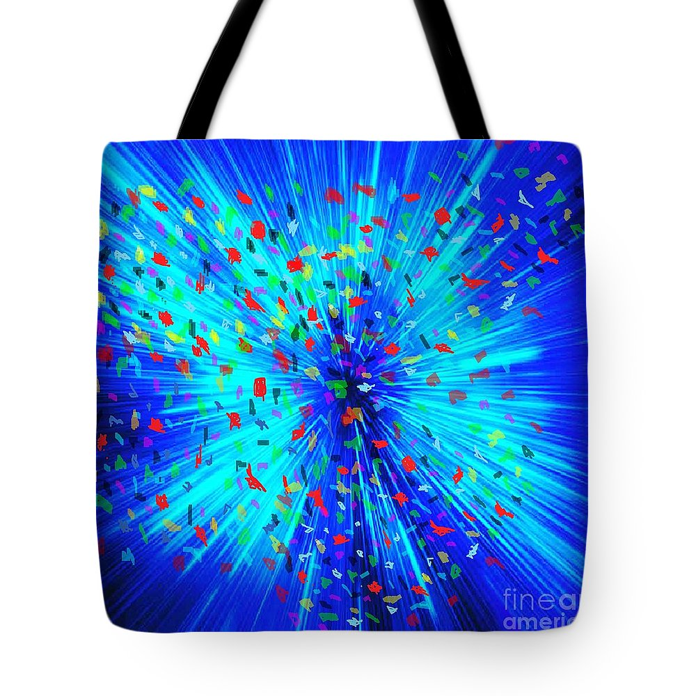 Space Tote Bag featuring the painting The Big Boom by Belinda Threeths