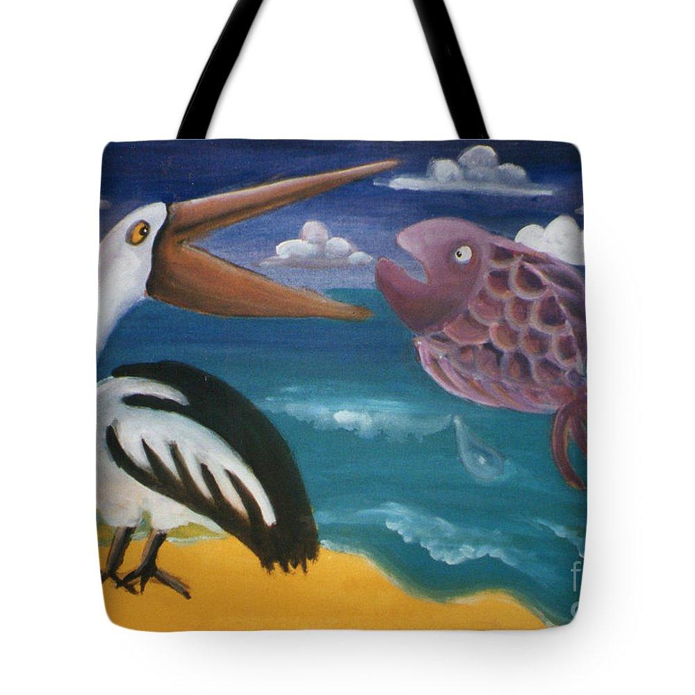 Caroline Peacock Tote Bag featuring the painting The Big Dinner Break by Caroline Peacock
