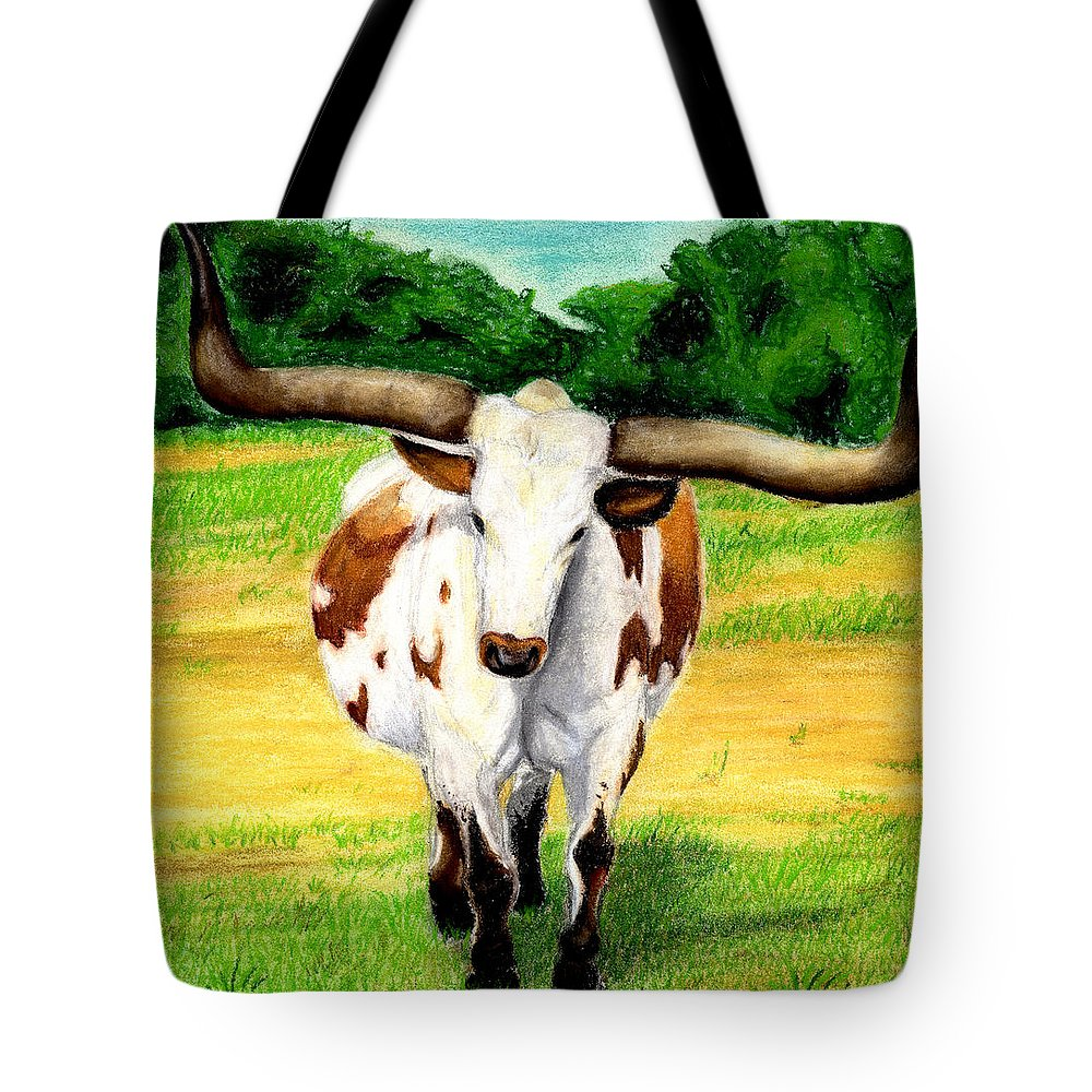 Longhorn Tote Bag featuring the pastel The Big Guy by Anna Katherine