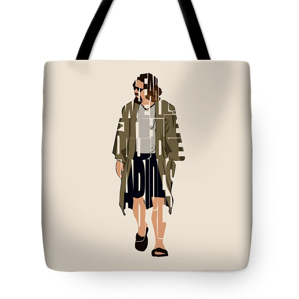 The Big Lebowski Tote Bag featuring the digital art The Big Lebowski Inspired The Dude Typography Artwork by Inspirowl Design
