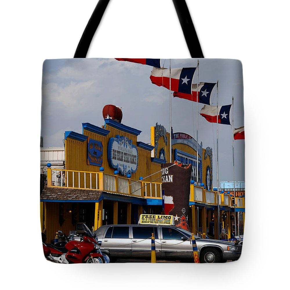 The Big Texan Tote Bag featuring the photograph The Big Texan In Amarillo by Susanne Van Hulst