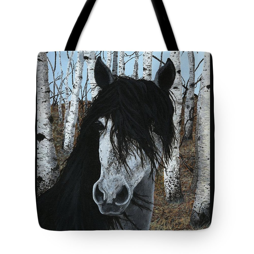 Horse Tote Bag featuring the painting The Birch Horse by Jennifer Nilsson
