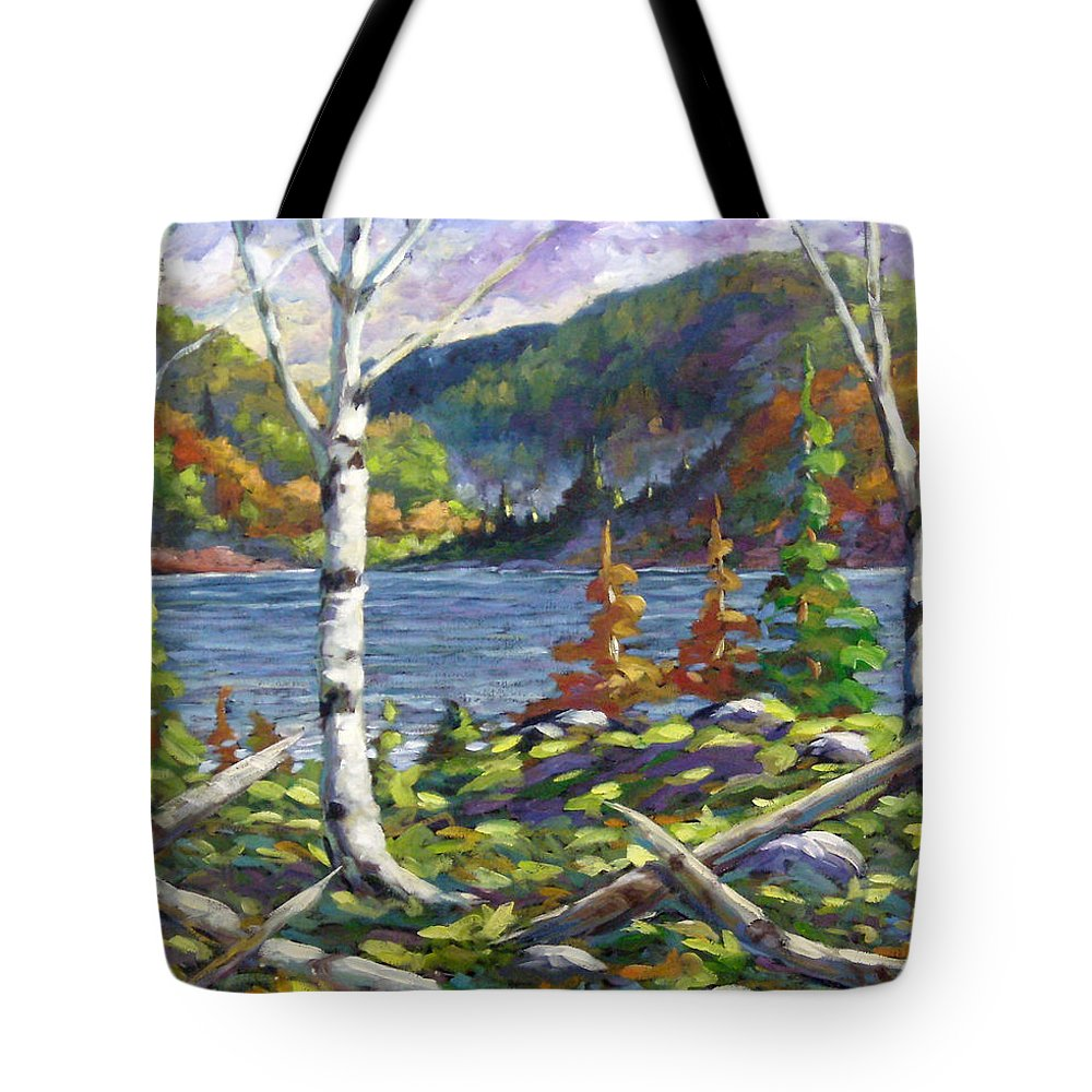 Art Tote Bag featuring the painting The Birches by Richard T Pranke