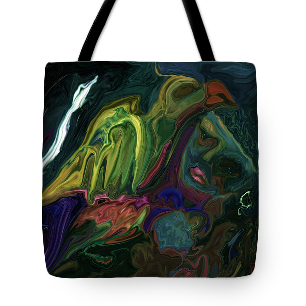 Abstract Tote Bag featuring the digital art The Bird Man by Rabi Khan