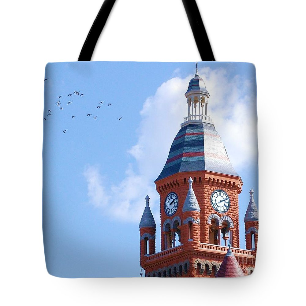 Clock Tote Bag featuring the photograph The Birds by Debbi Granruth