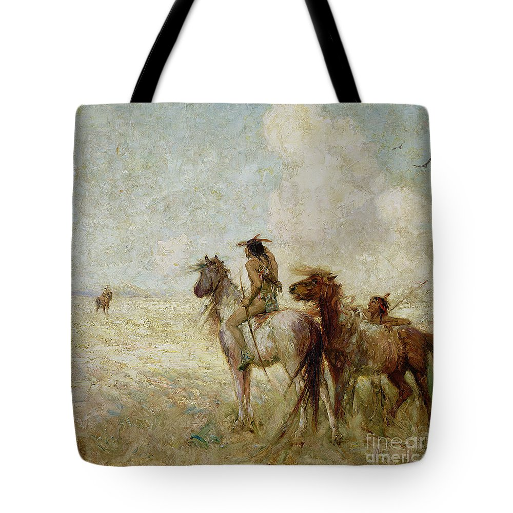 The Tote Bag featuring the painting The Bison Hunters by Nathaniel Hughes John Baird
