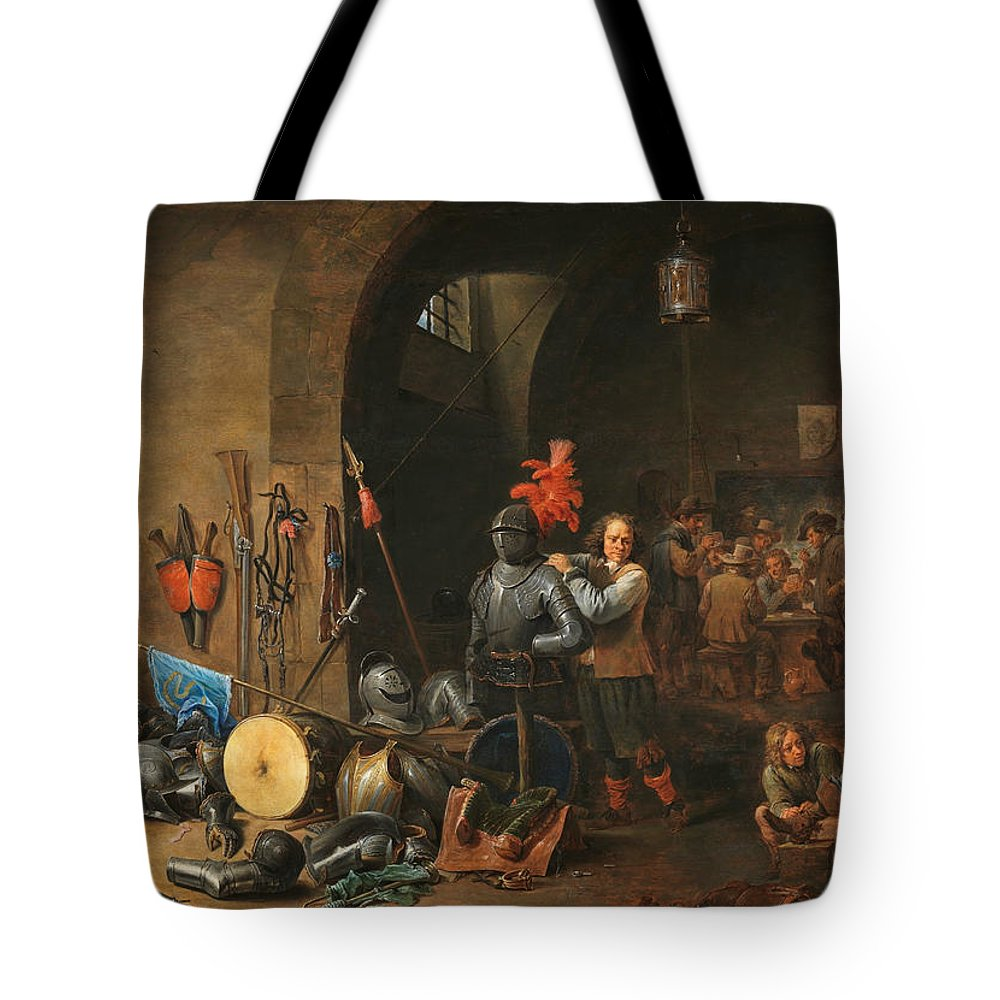 17th Century Art Tote Bag featuring the painting The Bivouac by David Teniers the Younger