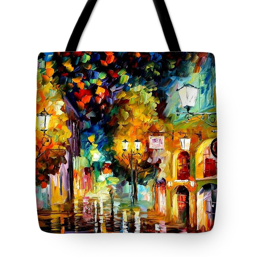 Afremov Tote Bag featuring the painting The Block by Leonid Afremov