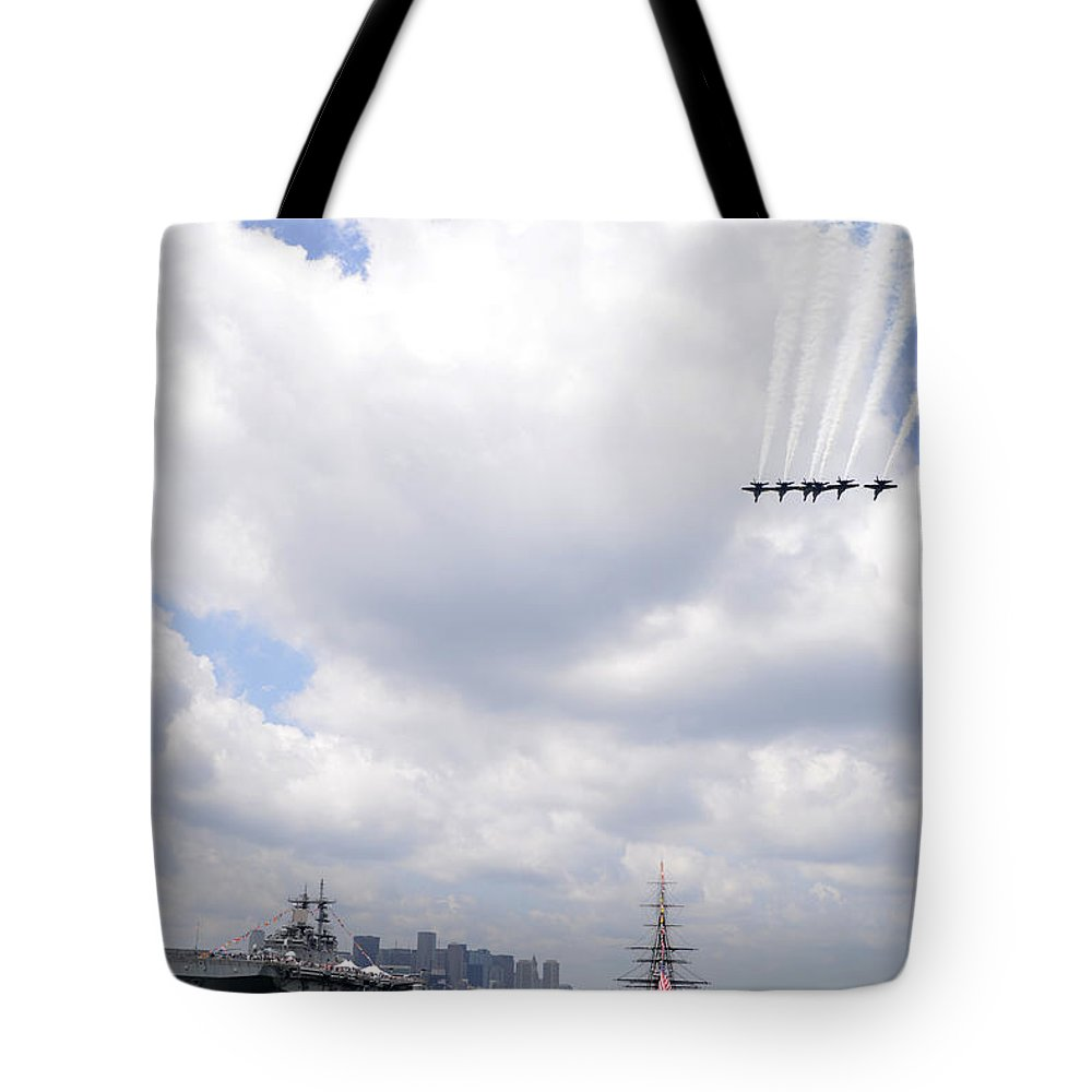 The Blue Angels Flying Over Uss Constitution Credit Us Navy Tote Bag featuring the painting The Blue Angels Flying Over Uss Constitution by Celestial Images