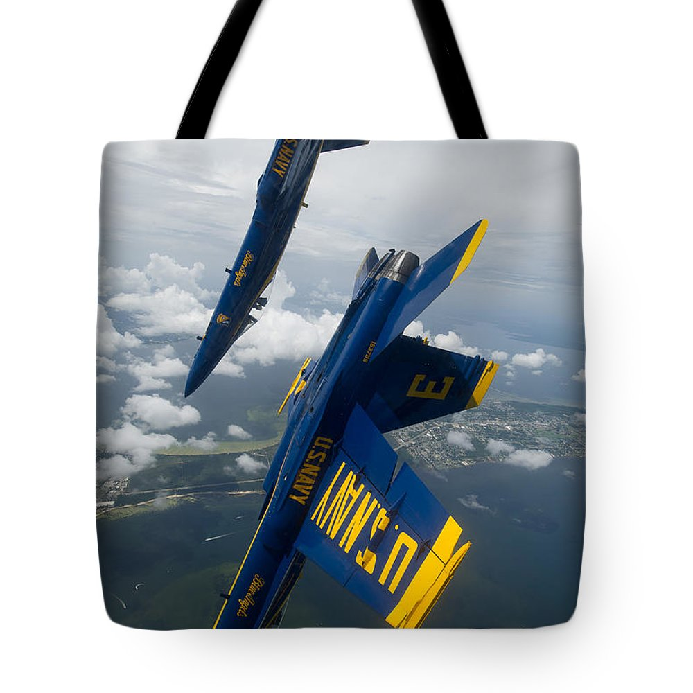 The Blue Angels Over Pensacola Beach Credit Us Navy Tote Bag featuring the painting The Blue Angels Over Pensacola Beach by Celestial Images