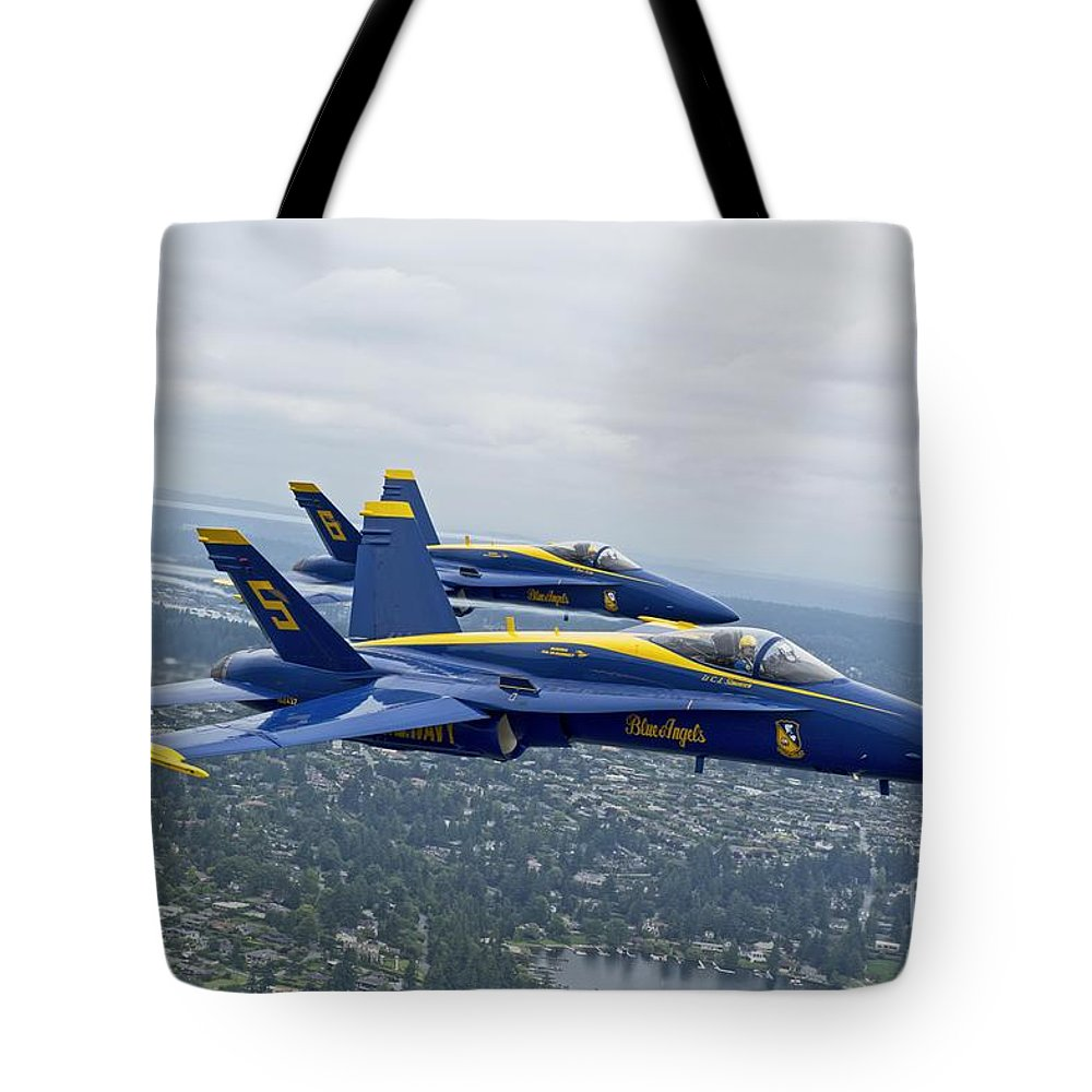 The Blue Angels Over Seattle Credit Us Navy Tote Bag featuring the painting The Blue Angels Over Seattle by Celestial Images