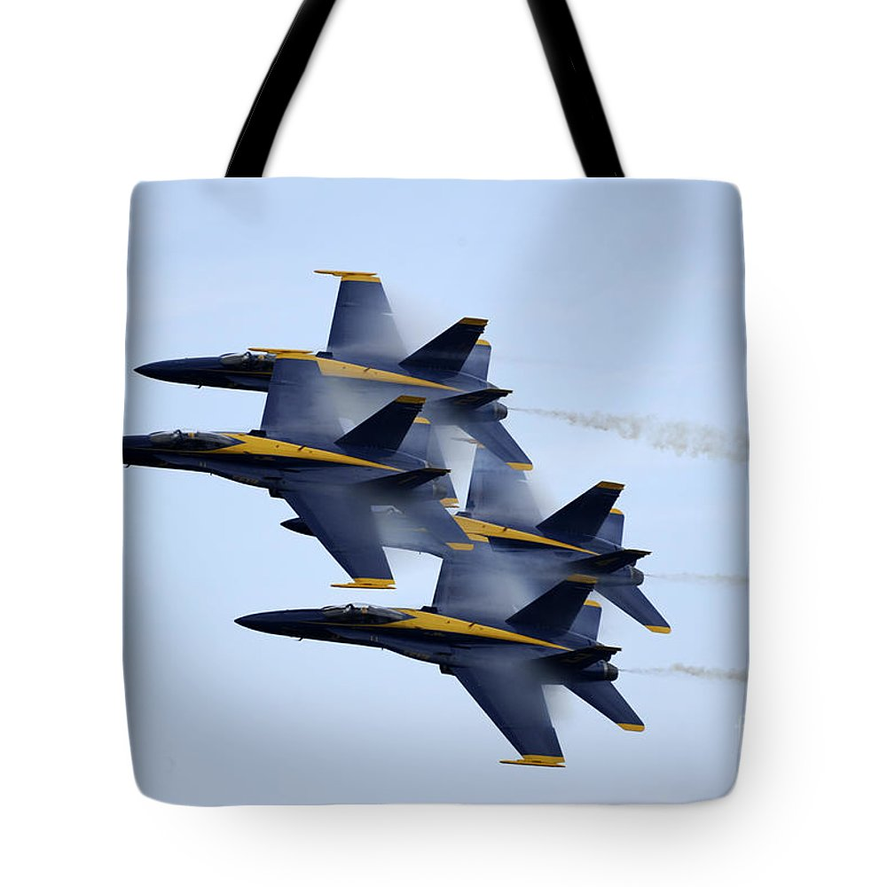 Blue Angels Tote Bag featuring the painting the Blue Angels perform a Diamond 360 by Celestial Images