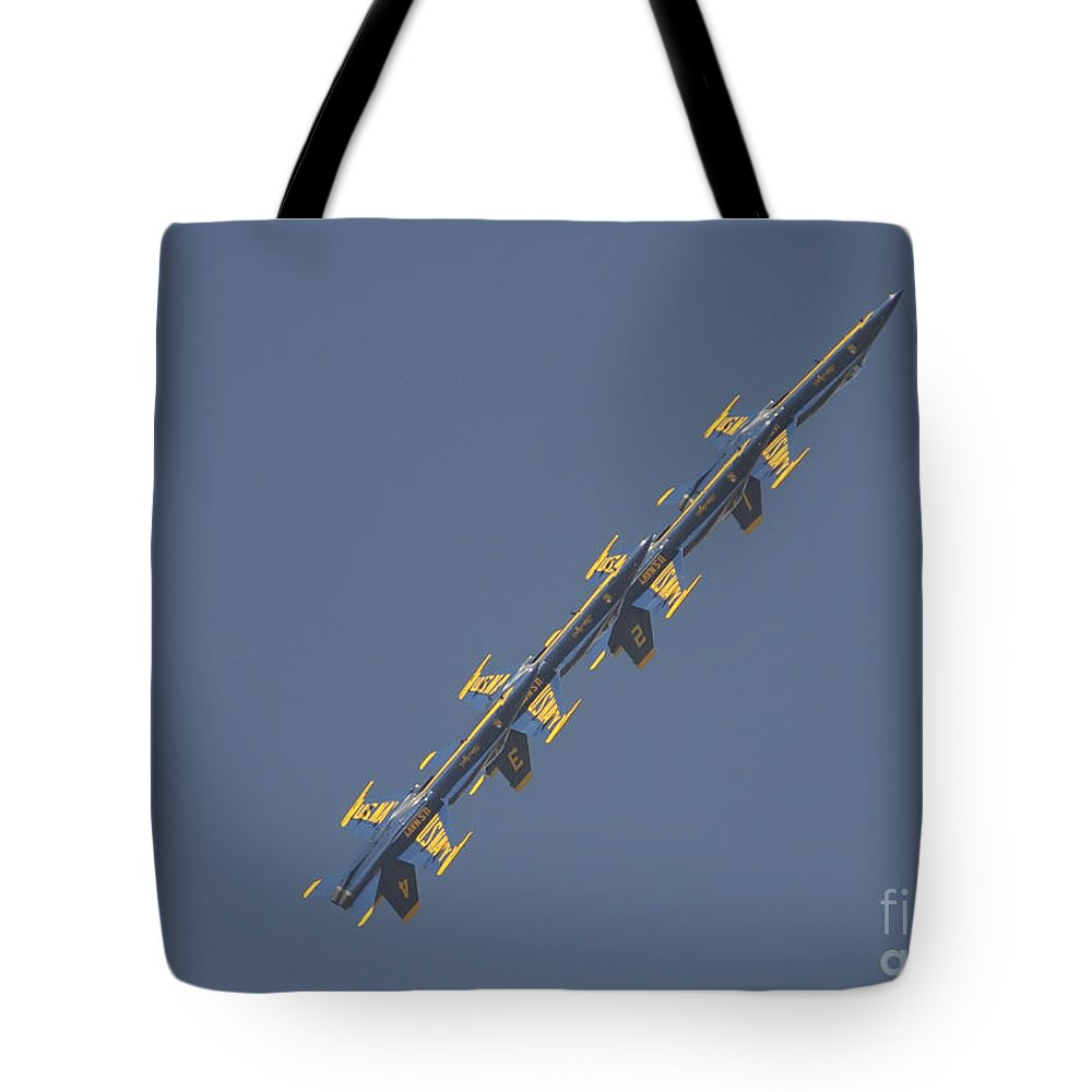 The Blue Angels Tote Bag featuring the painting the Blue Angels performs the Left Echelon Roll by Celestial Images