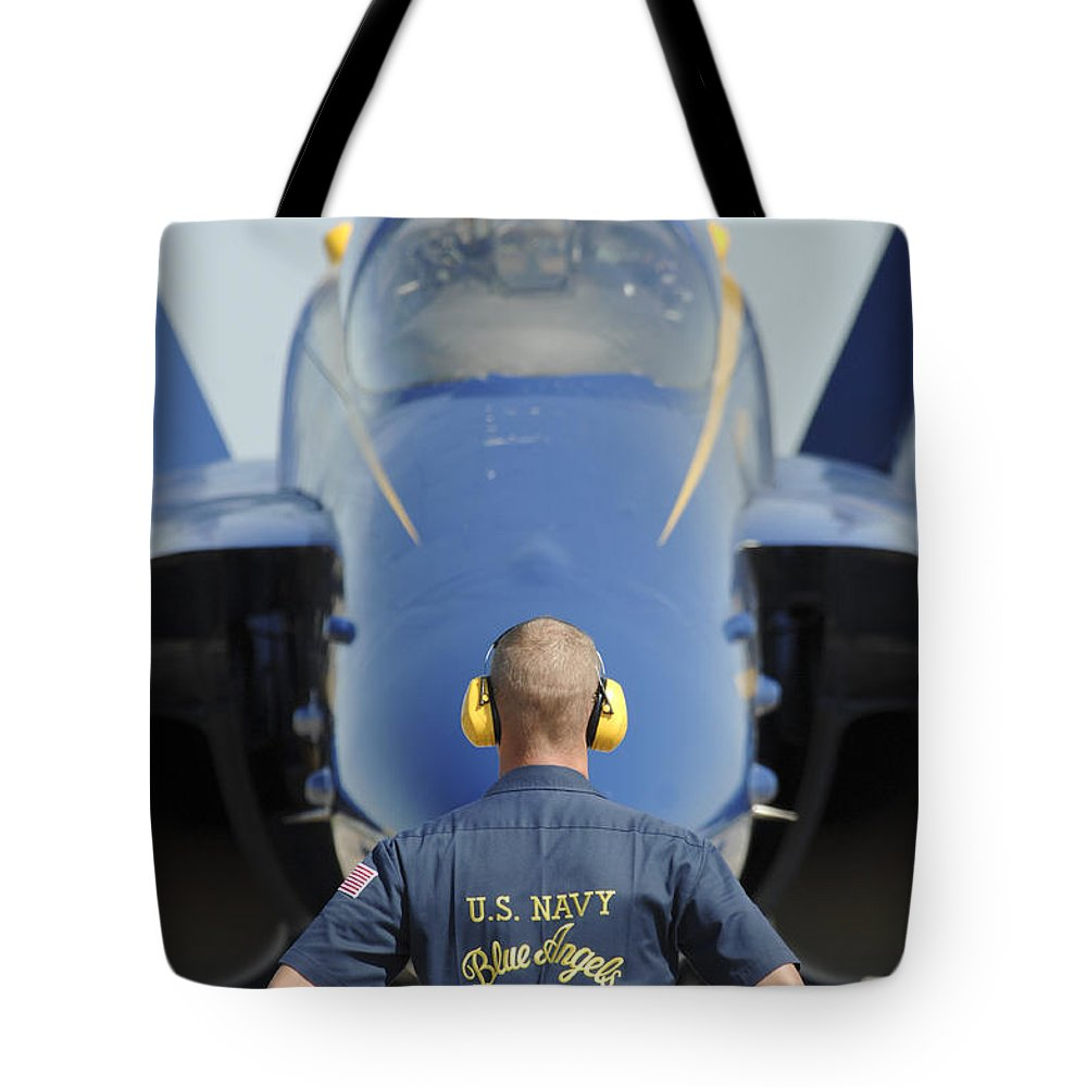 The Blue Angels Tote Bag featuring the painting the Blue Angels waits for a signal from his pilot by Celestial Images