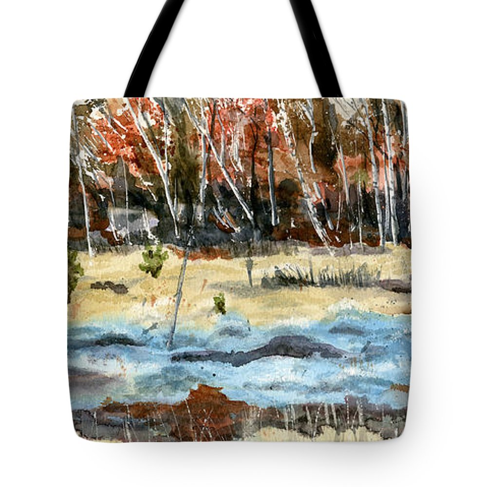 Landscape Tote Bag featuring the painting The Blue Bog by Mary Tuomi