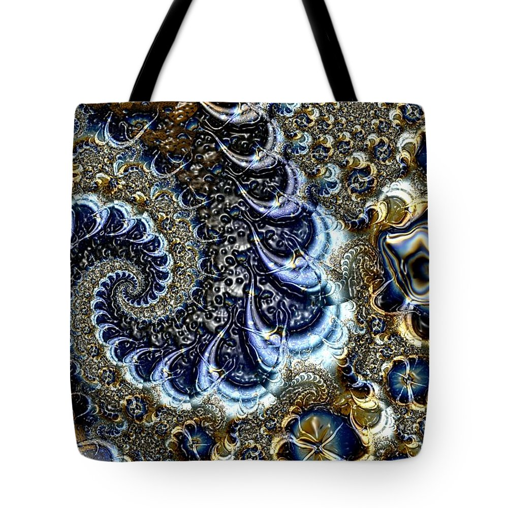 Fractal Diamonds Blue Jewel Dance River Tote Bag featuring the digital art The blue diamonds by Veronica Jackson