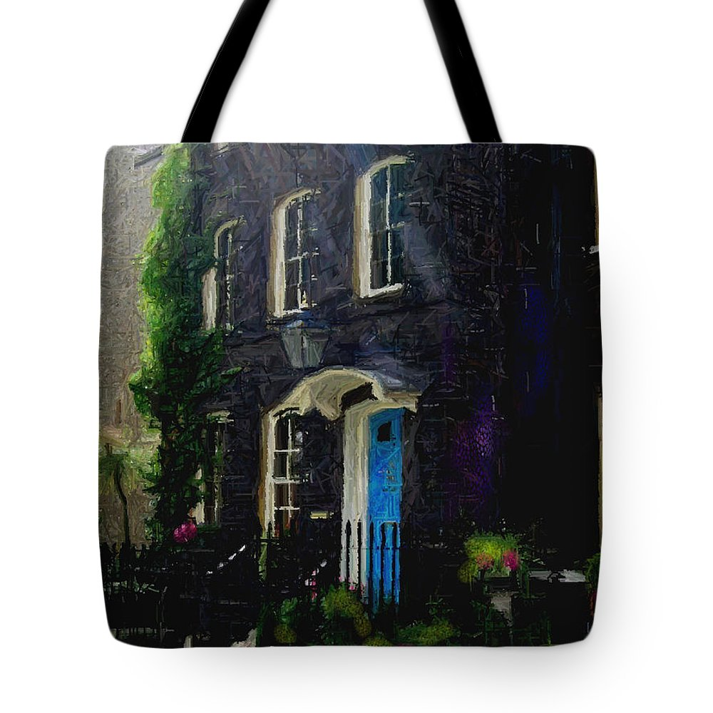 London Tote Bag featuring the painting The Blue Door by Betsy Aguirre