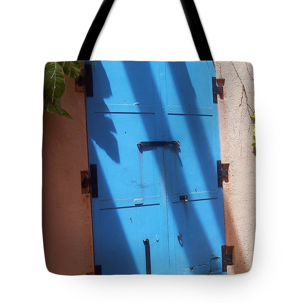 Architecture Tote Bag featuring the photograph The Blue Door by Debbi Granruth