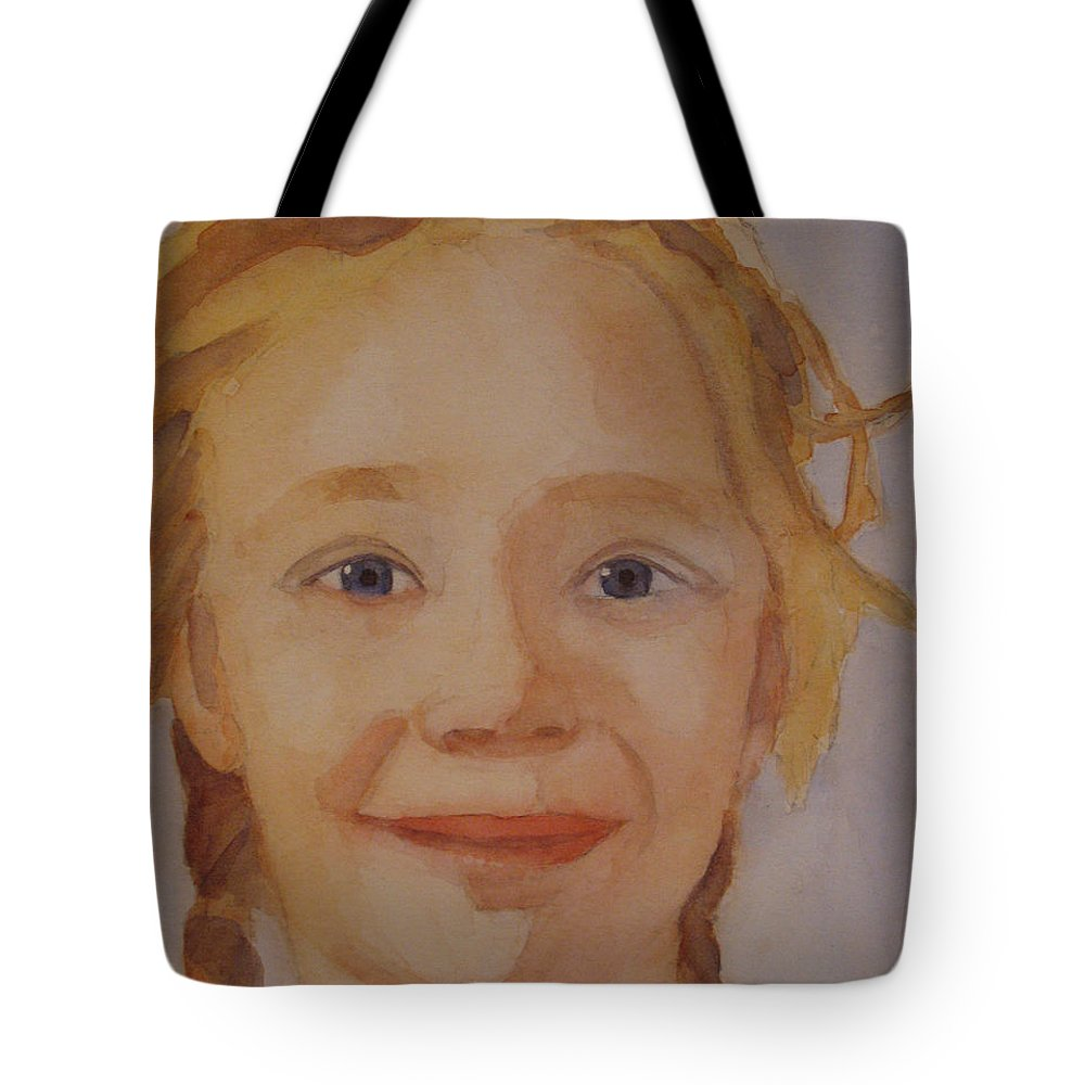 Partrait Tote Bag featuring the painting The Blue-eyed Duckling by Jenny Armitage