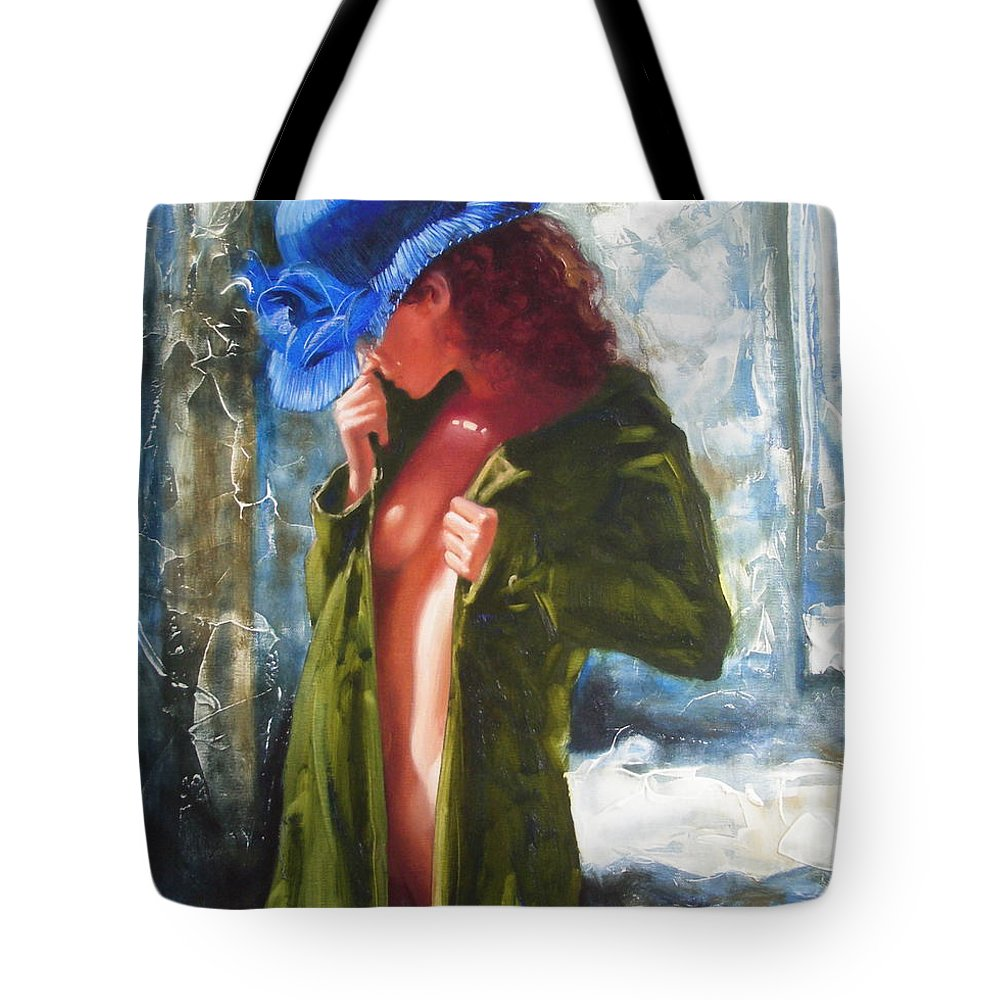 Art Tote Bag featuring the painting The Blue Hat by Sergey Ignatenko