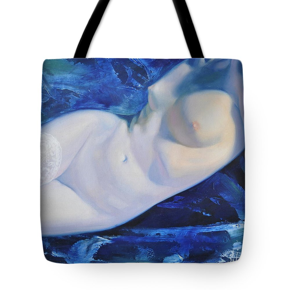 Art Tote Bag featuring the painting The Blue Ice by Sergey Ignatenko