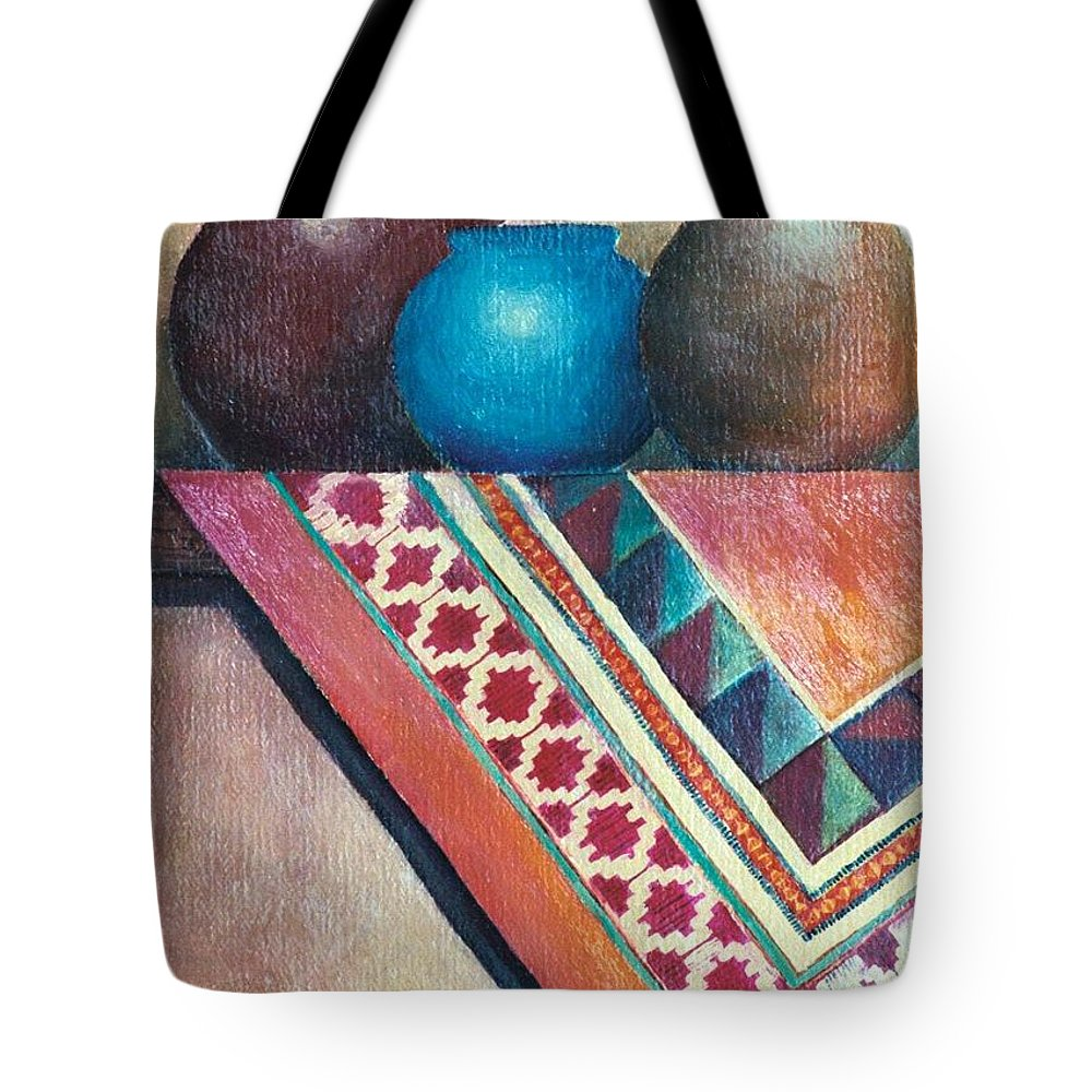 Jars Tote Bag featuring the painting The Blue Jar IIi by Jun Jamosmos