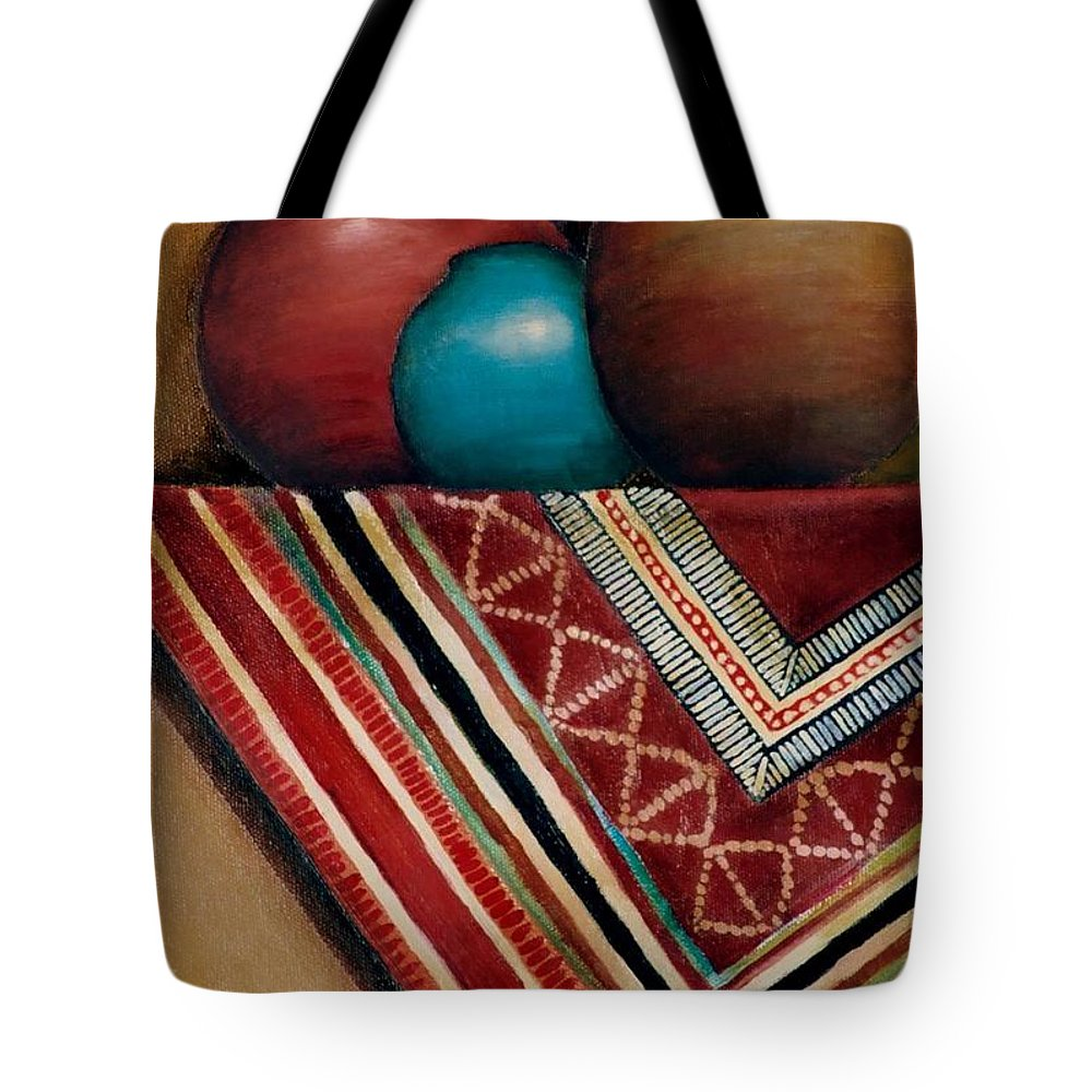 Jar Tote Bag featuring the painting The Blue Jar by Jun Jamosmos
