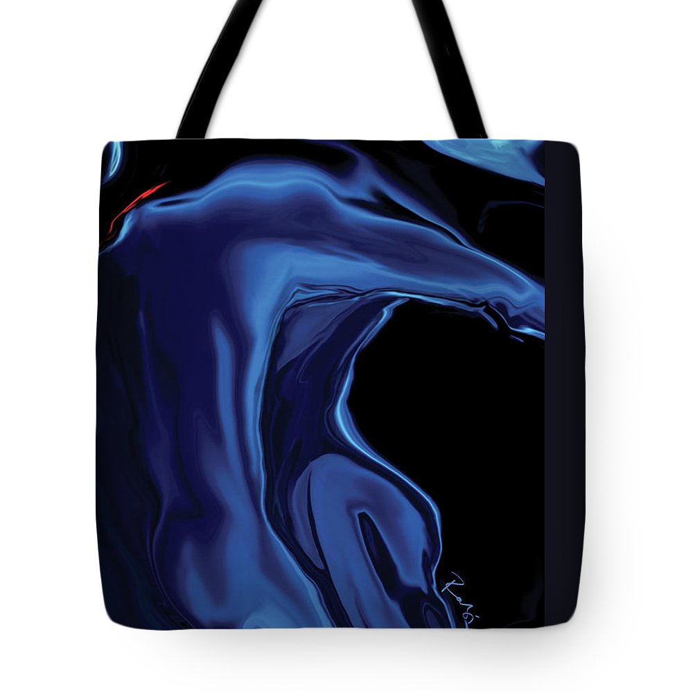 Abstract Tote Bag featuring the digital art The Blue Kiss by Rabi Khan
