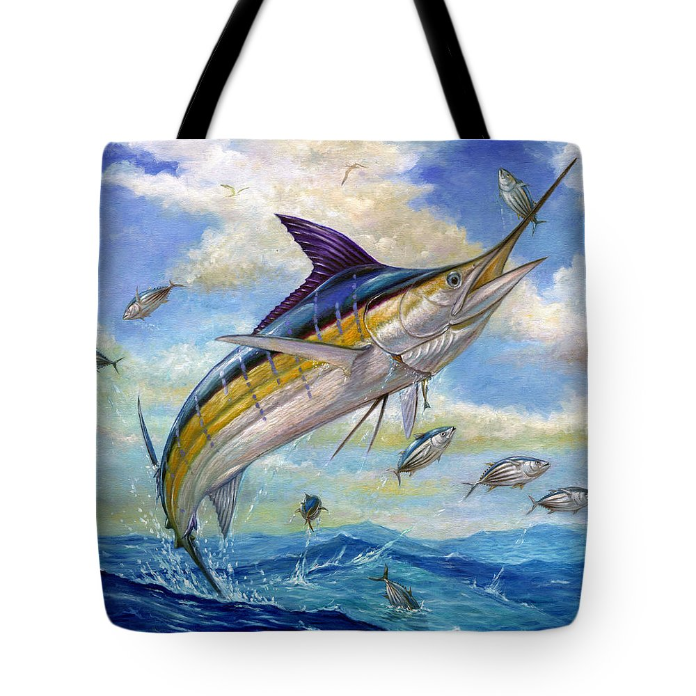 Blue Marlin Tote Bag featuring the painting The Blue Marlin Leaping To Eat by Terry Fox