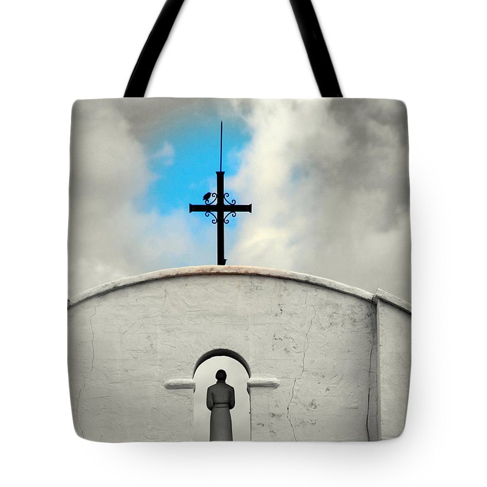 Religion Tote Bag featuring the photograph The Blue Spot In The Sky by Susanne Van Hulst