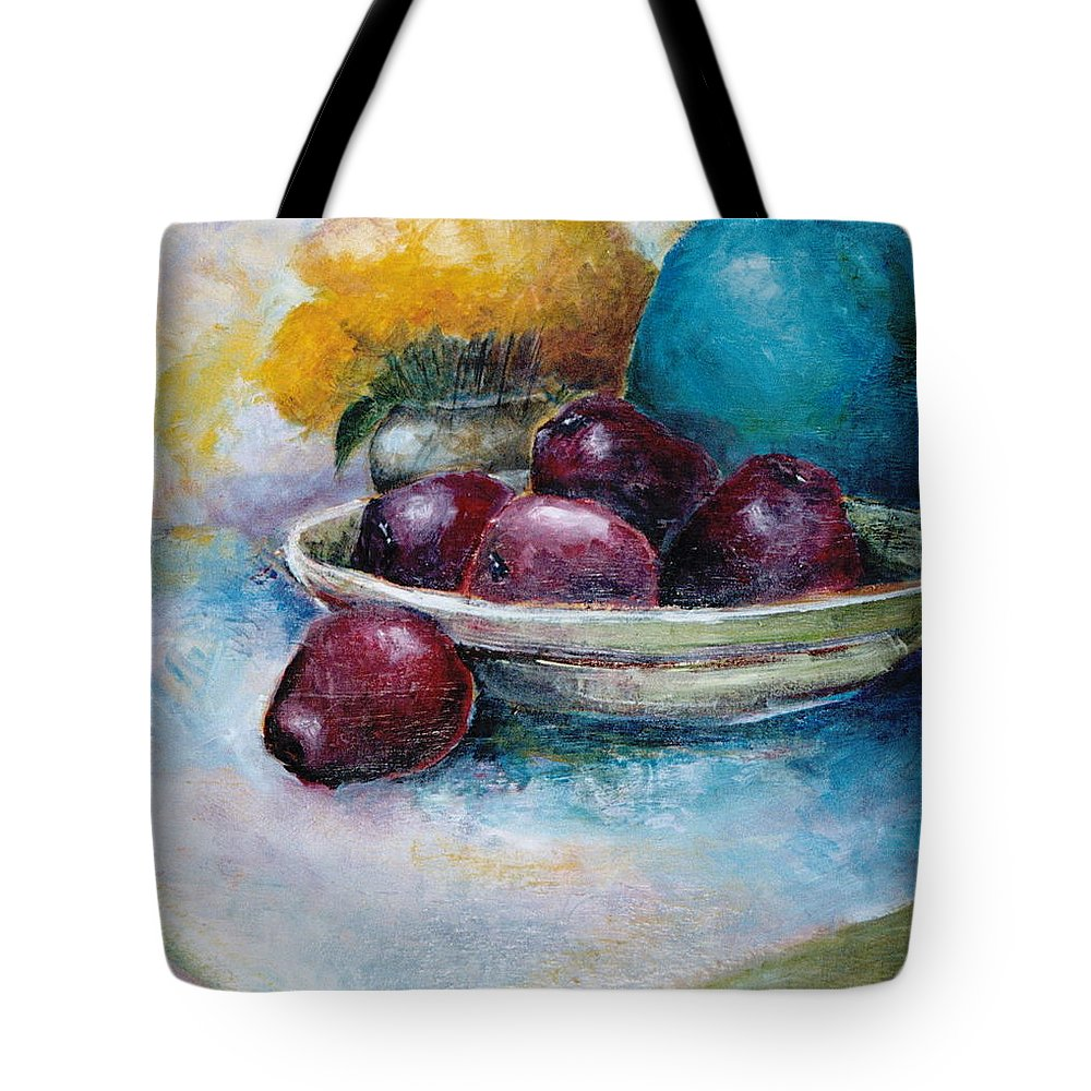 Jar Tote Bag featuring the painting The Blue Vase Iv by Jun Jamosmos