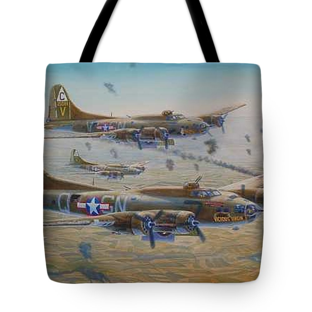 303rd Bomb Groups Vicious Virgin Tote Bag featuring the painting The Bomb Run Over Schwienfurt by Scott Robertson