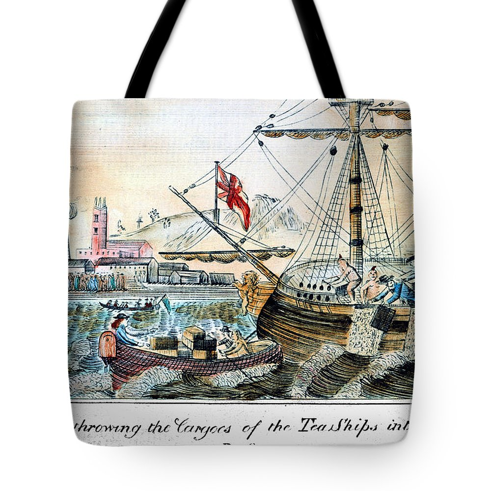 1773 Tote Bag featuring the photograph The Boston Tea Party, 1773 by Granger
