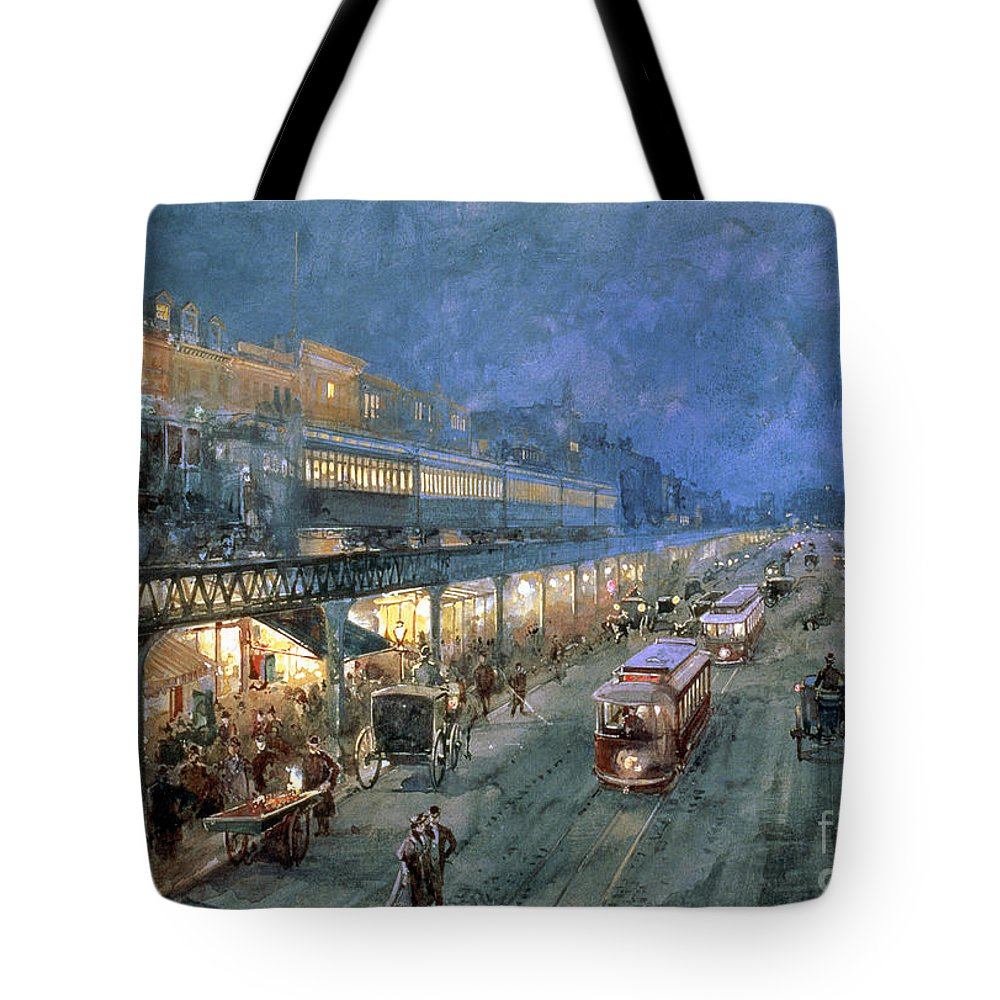 The Bowery At Night Tote Bag featuring the painting The Bowery At Night by William Sonntag