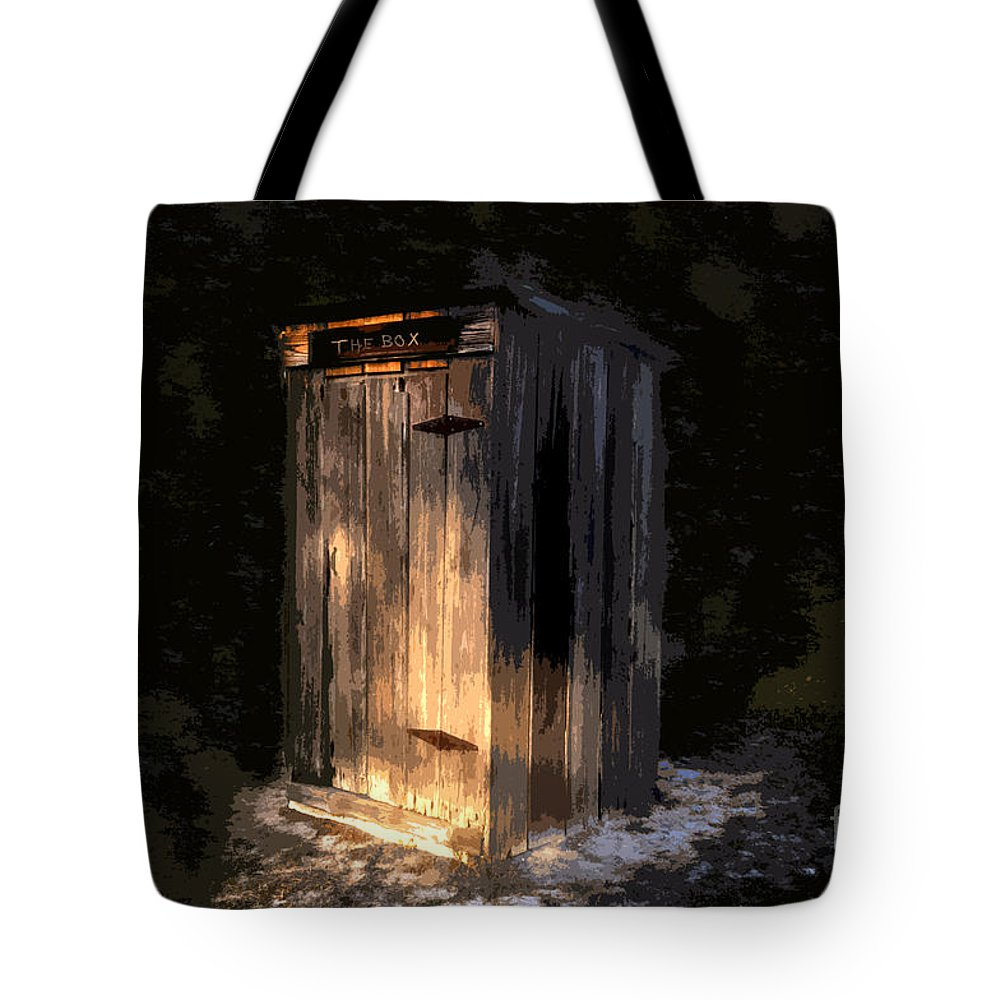 Outhouse Tote Bag featuring the painting The Box by David Lee Thompson