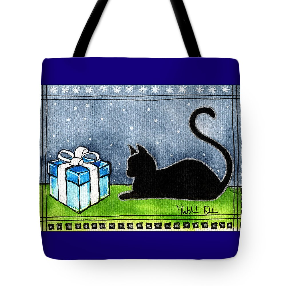 The Box Is Mine Tote Bag featuring the painting The Box Is Mine - Christmas Cat by Dora Hathazi Mendes