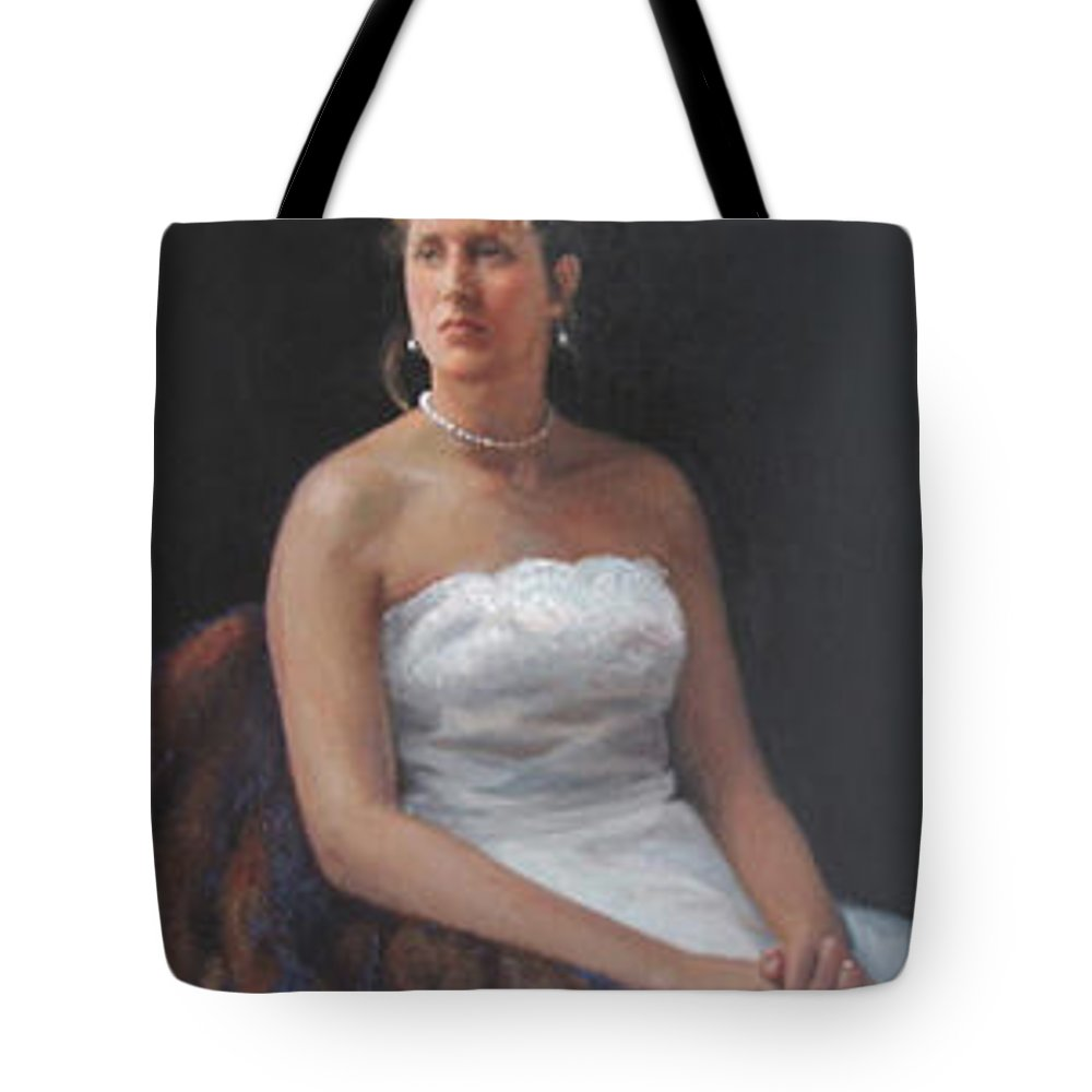 Formal Portrait Tote Bag featuring the painting The Bride by Dianne Panarelli Miller